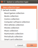 Figure 1: GCstar comes with templates for various types of collections.