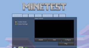 Figure 1: When you first fire up Minetest, you are prompted to create a new game world.