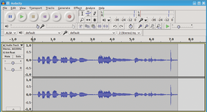 Figure 1: Audacity at work: In this example, the USB microphone connected to the computer provides a stereo track, so Audacity displays two waveforms.