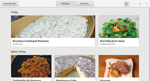Figure 1: Gnome Recipes welcomes you with a clearly structured screen in the current Gtk3 design.