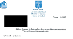 Figure 1: In 2015, Israel's Ministry of Defense asked hackers to send them their newest zero-day exploits [8].